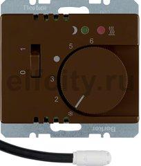 Регулятор температуры помещения пола с замыкающим контактом, с центральной панелью и светодиодом, Arsys, цвет: коричневый, глянцевый
