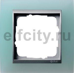 Рамка 1 пост, пластик матово-салатовый/алюминий