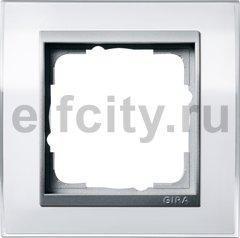 Рамка 1 пост, пластик прозрачный белый-алюминий