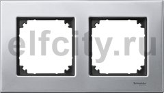 Рамка 2 поста, для горизонтального/ вертикального монтажа, металл платина-серебро