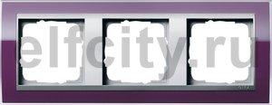 Рамка 3 поста, для горизонтального/вертикального монтажа, пластик прозрачный темно-фиолетовый-алюминий