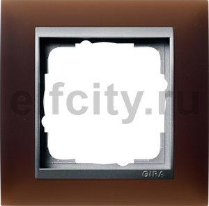 Рамка 1 пост, пластик матово-коричневый/алюминий