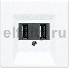 Зарядное USB устройство на два выхода , 2х750 мА / 1х1500 мА, пластик белый глянцевый