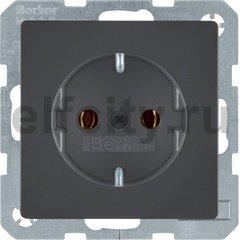 Розетка с заземляющими контактами 16 А / 250 В, автоматические зажимы, антрацитовый, с эффектом бархата