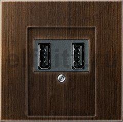 Зарядное USB устройство на два выхода , 2х750 мА / 1х1500 мА, античная латунь