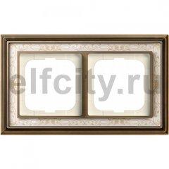 Рамка 2 поста, для горизонтального/вертикального монтажа, латунь античная/белая роспись