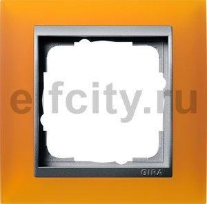 Рамка 1 пост, пластик матово-янтарный/алюминий