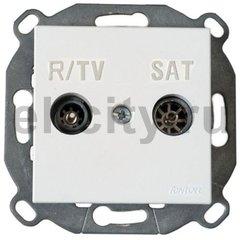 Розетка телевизионная одиночная TV/FM SAT, диапазон частот от 4 до 2400 Mгц, металлик