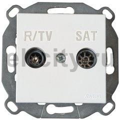 Розетка телевизионная оконечная TV/FM SAT, диапазон частот от 4 до 2400 Mгц, белый