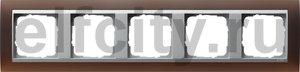 Рамка 5 постов, для горизонтального/вертикального монтажа, пластик матово-коричневый/алюминий