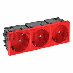 Розетка тройная 33° Modul45connect, с з/к, 250 В, 16A (красный)