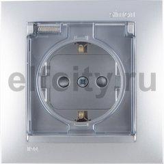Розетка с заземляющими контактами 16 А / 250 В, с откидной крышкой и уплотнительной мембраной IP44, комплектуется рамкой, алюминий