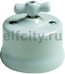 Выключатель поворотный одноклавишный перекресный (вкл/выкл с 3-х мест) 10 А / 250 В, наружный монтаж, фарфор белый