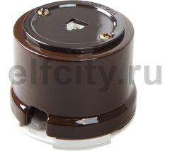 Телефонная розетка для наружного монтажа, коричневый
