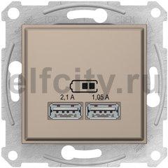 Розетка USB для зарядки мобильных устройств 2,1А (2x1,05А), титан