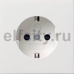 Розетка с заземляющими контактами 16 А / 250 В, с защитой от детей и пиктограммой, пластик белый глянцевый