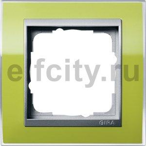 Рамка 1 пост, пластик прозрачный зеленый-алюминий