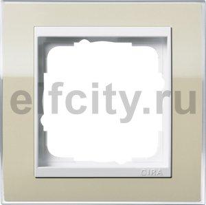 Рамка 1 пост, пластик прозрачный песочный-глянц.белый