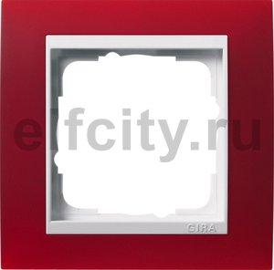 Рамка 1 пост, пластик матово-красный/глянц.белый