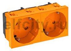 Розетка двойная 33° с з/к, 250 В, 16A (оранжевый)