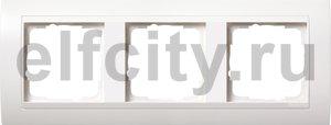 Рамка 3 поста, для горизонтального/ вертикального монтажа, пластик матово-белый/глянц.белый