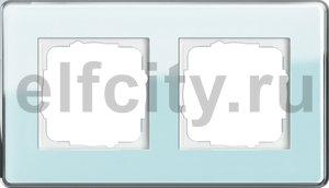 Рамка 2 поста, для горизонтального/вертикального монтажа, стекло салатовое Glass C