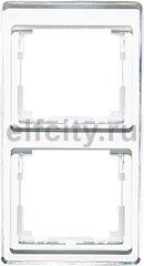 Рамка 2 поста, для вертикального монтажа, белое стекло