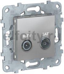 Розетка телевизионная оконечная TV SAT FM, диапазон частот от 4 до 2400 Mгц, алюминий