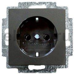 Розетка с заземляющими контактами 16 А / 250 В, автоматические зажимы, шато-черный
