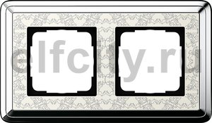 Рамка 2 поста, для горизонтального/вертикального монтажа, хром/кремовый