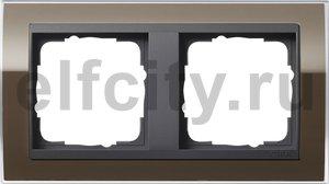 Рамка 2 поста, для горизонтального/вертикального монтажа, пластик прозрачный коричневый-антрацит