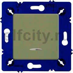 Выключатель одноклавишный с подсветкой, 10 А / 250 В, green olive