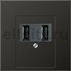 Зарядное USB устройство на два выхода , 2х750 мА / 1х1500 мА, пластик антрацит