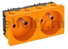 Розетка двойная 0° франц. стандарт 250 В, 16A (оранжевый)
