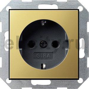 Розетка с заземляющими контактами 16 А / 250 В, латунь/черный