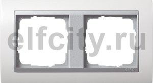 Рамка 2 поста, для горизонтального/ вертикального монтажа, пластик матово-белый/алюминий