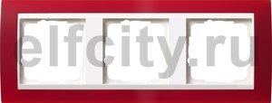 Рамка 3 поста, для горизонтального/вертикального монтажа, пластик матово-красный/глянц.белый