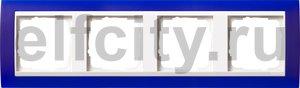Рамка 4 поста, для горизонтального/вертикального монтажа, пластик матово-синий/глянц.белый
