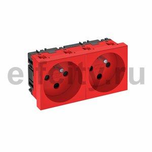 Розетка двойная 0° с кодом, 250 В, 16A (красный)