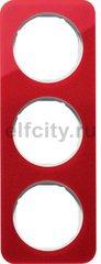 Рамка 3 поста, для горизонтального/вертикального монтажа, акрил красный/белый