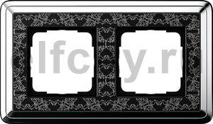 Рамка 2 поста, для горизонтального/вертикального монтажа, хром/черный