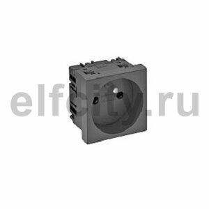 Розетка одинарная 0° франц. стандарт 250 В, 16A (черный)
