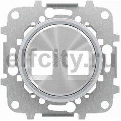 Накладка для 2-х суппортов/разъёмов типа 2017... или 2018..., со стальным суппортом, серия SKY Moon, кольцо хром