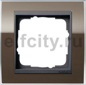 Рамка 1 пост, пластик прозрачный коричневый-антрацит