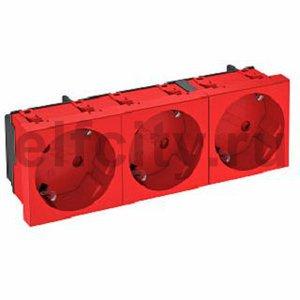 Розетка тройная 33° с з/к, 250 В, 16A (красный)