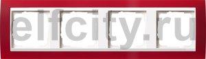 Рамка 4 поста, для горизонтального/вертикального монтажа, пластик матово-красный/глянц.белый