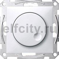 Диммер (светорегулятор) поворотный 60-400 Вт для ламп накаливания и галогенных 220В, пластик белый глянцевый