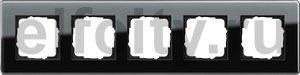 Рамка 5 постов, для горизонтального/вертикального монтажа, стекло черное Glass C