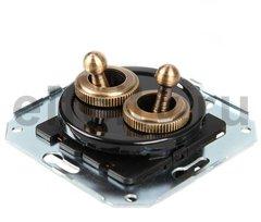 Выключатель тумблерныйный 4-х позиционный для внутреннего монтажа проходной (двухклавишный), черный