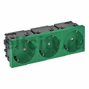 Розетка тройная 33° Modul45connect, с з/к, 250 В, 16A (зеленый)